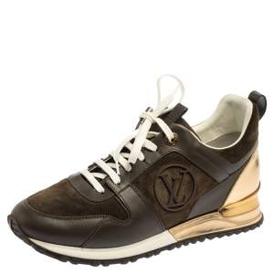 Louis Vuitton Military Green Leather And Suede Run Away  Sneakers Size 39