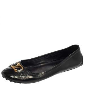 Louis Vuitton Dark Grey Vernis Leather Oxford Ballet Flats Size 38.5