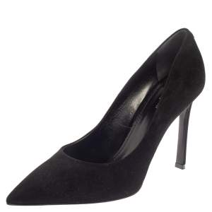 Louis Vuitton Black Suede Leather Pointed Toe Pumps Size 39