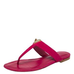 Louis Vuitton Pink Suede Leather Bahiana Thong Flats Size 38