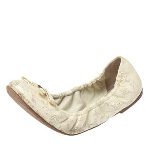 Louis Vuitton Cream Monogram Leather Bow Scrunch Ballet Flats Size 39