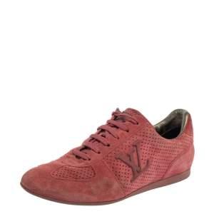 حذاء رياضي لوي فيتون منخفض من أعلى سويدي مخرم وردي مقاس 35.5