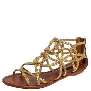 Louis Vuitton Metallic Gold Braided Leather Gladiator Flat Sandals Size 36