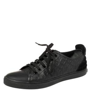 Louis Vuitton Black Monogram Empreinte Leather And Suede Low Top Sneakers Size 37