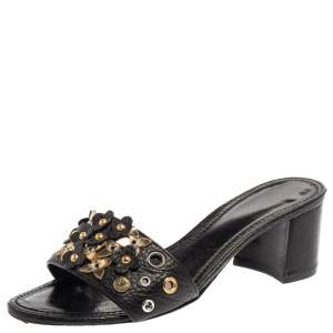 Louis Vuitton Black Leather Applique Embellished Block Heel Slide Sandals Size 37