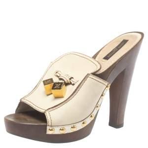 حذاء كلوغ لوى فيتون ديسك شعار جلد كريمى مقاس 36.5