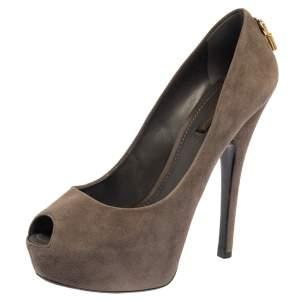 Louis Vuitton Grey Suede Platform Peep Toe Pumps Size 38.5