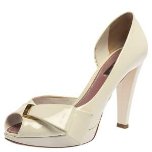 Louis Vuitton White Patent Leather Apple Peep Toe Pumps Size 37.5