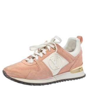 Louis Vuitton Old Rose Pink Suede and Mesh Lace Up Sneakers Size 36.5