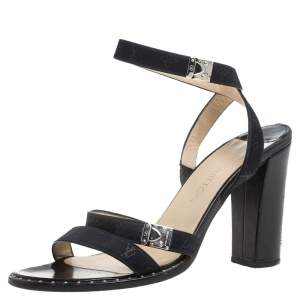 Louis Vuitton Black Monogram Mini Lin Satin Studded Ankle Wrap Sandals Size 38