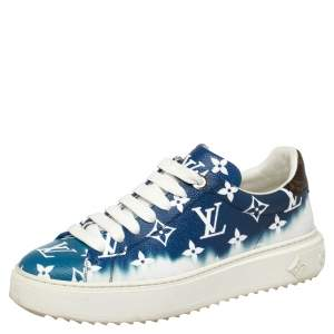 Louis Vuitton Blue/White Patent Monogram Canvas Escale Time Out Sneakers Size 38
