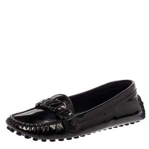 Louis Vuitton Black Patent Leather Logo Slip On Loafers Size 36.5