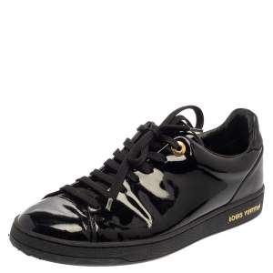 Louis Vuitton Black Patent Leather Low Top Sneakers Size 38