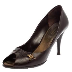 حذاء كعب عالي لوي فيتون مقدمة مفتوحة جلد بني مقاس 38