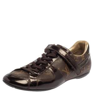 Louis Vuitton Brown Monogram Canvas And Patent Leather Sneakers Size 37