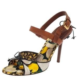 Louis Vuitton Multicolor Canvas And Leather Flower Fields Sandals Size 39
