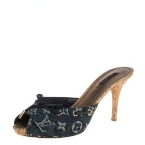 Louis Vuitton Blue Monogram Denim Canvas Slide Sandals Size 39