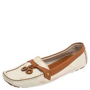 Louis Vuitton White/Brown Leather Slip On Loafers Size 40