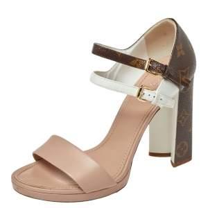 Louis Vuitton Tri Color Monogram Canvas and Leather Double Strap Sandals Size 39