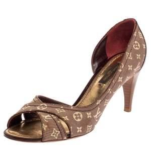 حذاء كعب عالي لوي فيتون دورساي مقدمة مفتوحة جلد لامع و كانفاس ميني لين بيج و عنابي مقاس 35.5