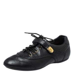 Louis Vuitton Black Leather Brogue Velcro Strap Sneakers Size 37.5