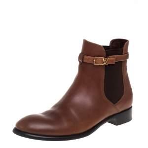 حذاء بوت كاحل  لوى فيتون لويالتى جلد بنى مقاس 38