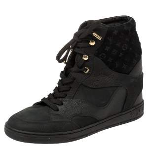 Louis Vuitton Black Monogram Suede And Leather Millenium Wedge Sneakers Size 38