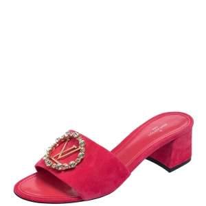 Louis Vuitton Pink Suede Madeleine Slide Sandals Size 37