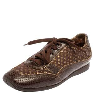 Louis Vuitton Brown Monogram Satin And Python Embossed Leather Trim Low Top Sneakers Size 38