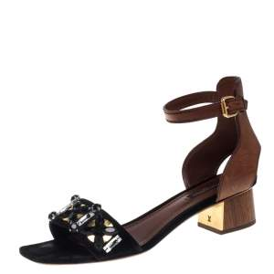Louis Vuitton Black/Brown Suede and Leather Jewel Embellished Odyssey Sandals Size 38