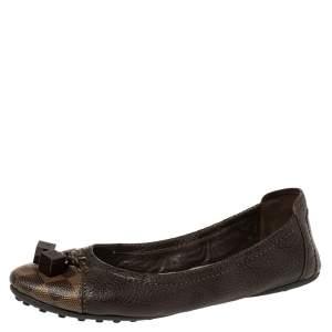 حذاء باليرينا فلات لوي فيتون دايس كانفاس وجلد بني مقاس 40