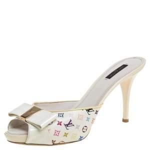 Louis Vuitton Cream Monogram Canvas And Patent Leather Sandals Size 40.5