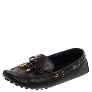 Louis Vuitton Black Monogram Leather Gloria Loafers Size 38.5