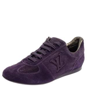 Louis Vuitton Purple Perforated Suede Low-Top Sneakers Size 36