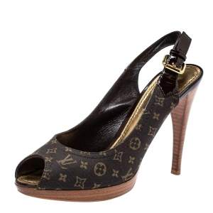 Louis Vuitton Brown Min Lin Monogram Canvas and Patent Leather Slingback Sandals Size 36.5
