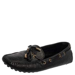 Louis Vuitton Black Monogram Leather Gloria Loafers Size 38