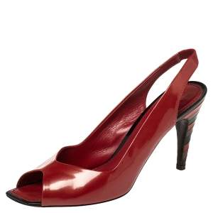 Louis Vuitton Red Patent Leather Peep Toe Sandals Size 39
