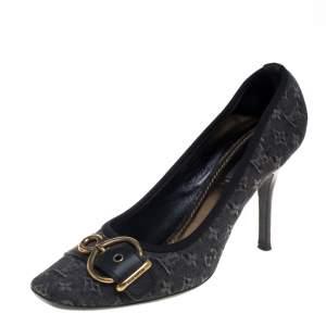 حذاء كعب عالي لوي فيتون بإبزيم مزين ميني لين جلد وكانفاس أسود مقاس 40