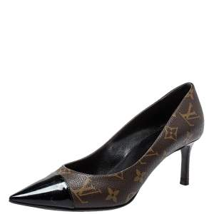 Louis Vuitton Brown Monogram Canvas And Patent Leather Cherie Pumps Size 39