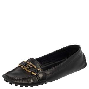 Louis Vuitton Black Leather Oxford Loafers Size 36.5