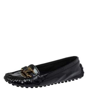 Louis Vuitton Black Patent Leather Oxford Slip On Loafers Size 38