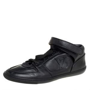 Louis Vuitton Black  Leather Vintage Velcro Strap Sneaker Size 38.5