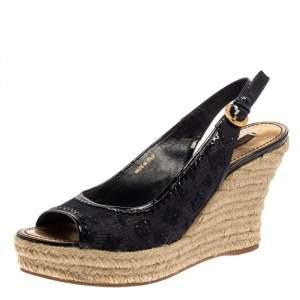 Louis Vuitton Blue Denim Monogram and Patent Leather Espadrille Wedge Slingback Sandals Size 39.5