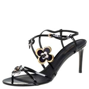 Louis Vuitton Black Patent Leather Flower Embellished Ankle Strap Sandals Size 41