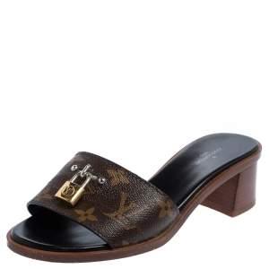 Louis Vuitton Brown/Beige Monogram Canvas Lock It Slide Sandals Size 35