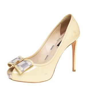 Louis Vuitton Cream Patent Leather and Damier Azur Canvas Damia Peep Toe Pumps Size 37.5