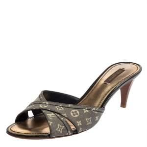 Louis Vuitton Grey Monogram Denim Slide Sandals Size 39.5