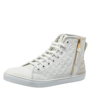 Louis Vuitton White Monogram Empreinte Leather Punchy High Top Sneakers Size 38