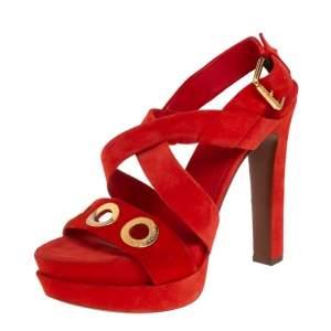 Louis Vuitton Red Suede Criss Cross Platform Ankle Strap Sandals Size 40
