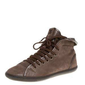 Louis Vuitton Brown Monogram Canvas & Leather Brea Sneaker Boots Size 38